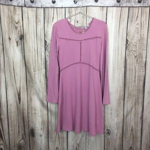 NWT Pink Moral Fiber Long Sleeve Swing Dress Med